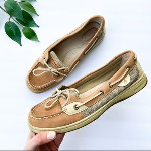 Sperry Tan Angelfish Boat Shoes Loafers Leather